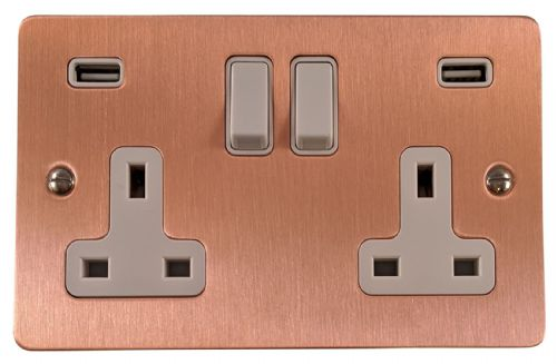 G&H FRG910W Flat Plate Rose Gold 2 Gang Double 13A Switched Plug Socket 2.1A USB